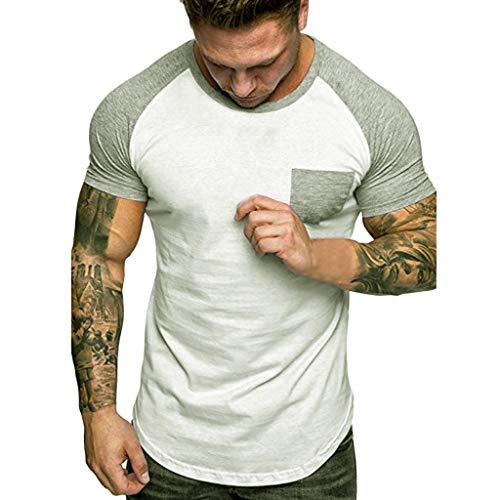 Routinfly Herren Lässige T-Shirt,Kurzärmliges T-Shirt-Oberteil mit Farbblocknähten Männer Fun Shirt Sweatshirt Slim Fit Patchwork Pocket Kurzarm T-Shirt Top Bluse M-3XL