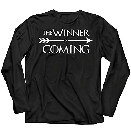 lepni.me Camiseta de Manga Larga para Hombre ¡Viene el Ganador! Divertido Atuendo Motivacional para fanáticos de los Deportes (L Negro Multicolor)