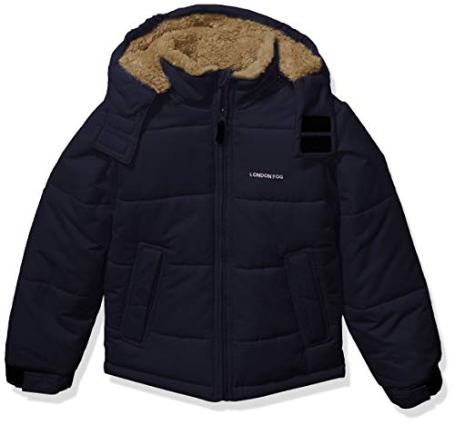 LONDON FOG Boys' Big Active Puffer Jacket Winter Coat, Navy Solid core, 8