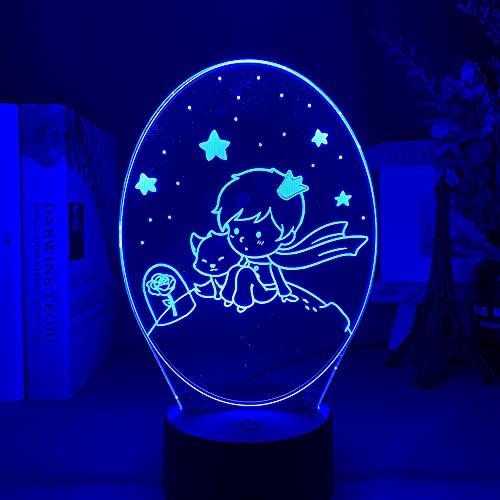 DAJIE Lámpara de luz nocturna para niños con diseño de El Principito en 7 colores, cambia la luz nocturna USB para niños