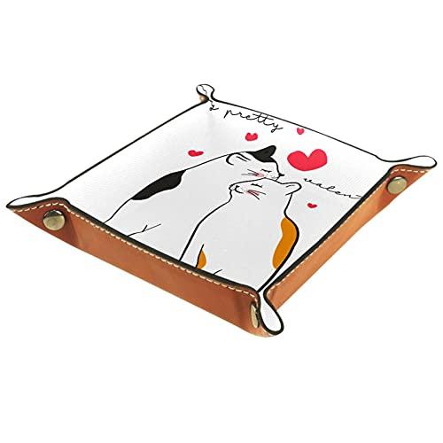 Lindo Ilustración gatos caja de la bandeja de San Valentín para el control remoto