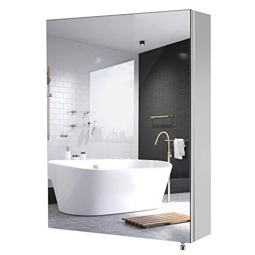 Homfa Spiegelschrank Edelstahl Wandspiegel Badezimmerspiegel Badspiegel Wandschrank fürs Bad Wasserdicht 45x60x13cm