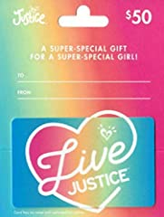 A super-special gift for a super-special girl. Justice sells a variety of apparel, swimwear, footwear and accessories for the active, fashion-aware 'tween girl. Retail stores located nationwide. No returns and no refunds on gift cards.