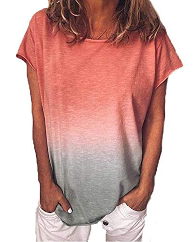 Yutila Damen Kurzarm T-Shirt Beiläufig Farbverlauf Shirt Sommer Lose Shirt Tees, Rot, L(EU 40)