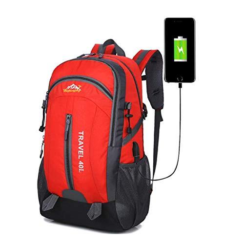FW Gentle River 40L lightweight USB backpack (Red), School bag, Laptop holder.