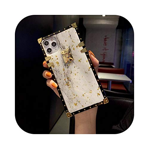 Lujo oro hoja brillo mármol cuadrado teléfono caso para Samsung S8 S9 S10 S20 Plus NOTE10 20 A51 A71 Crossbody Lanyard correa cubierta solamente3-Para Samsung S20