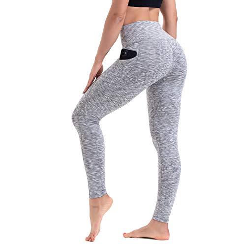 HLTPRO High Waist Leggings Damen mit Taschen -Bauchkontrolle Blickdicht Workout Gym Fitness Yogahose, Weiß Grau, M