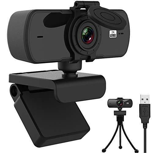 Webcam 2K mit Mikrofon, Upgrade 1080P Webcam mit Stativ, Webcam für PC, Laptop, Desktop, USB Webcam mit Abdeckung, Kompatibel mit Windows, Mac und Android,Für Streaming/Videoanrufe/Online-Bildung