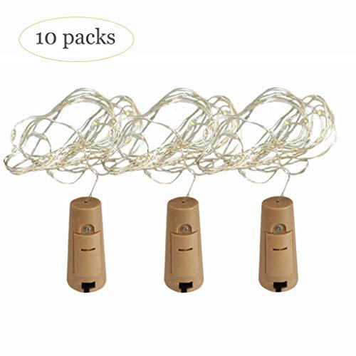 Z-HOMZYY 20 LED Weinflaschenleuchten mit Kork, 10er Pack Fairy Mini Lichterketten Batteriebetriebene Sternenlichter für DIY, Party, Dekor, Weihnachten, Halloween, Hochzeit