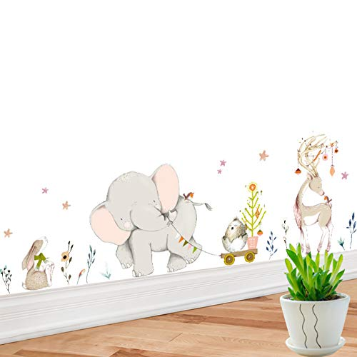 TAOYUE Cartoon Elephant Animal Wall Sticker for Kids Room Home Decoration Baseboard Large Art Wall Sticker for Nursery Baby Room Poster
