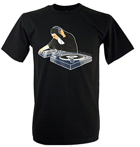 Guru-Shop Fun T-Shirt, Herren, DJ Nonne, Baumwolle, Size:M, Rundhals Kurzarm Shirt Alternative Bekleidung