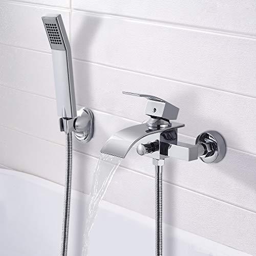 BONADE Badeannenarmatur mit Handbrause Einhebel Wannenmischer Wasserfall Wannenbatterie mit Brausegarnitur Messing Duscharmatur mit Brause für Dusche Badewanne