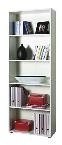 Libreria design moderno colore bianco scaffale con 5 ripiani cm 70x30x197 h
