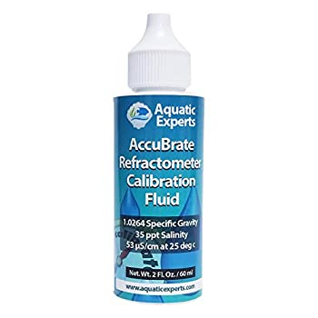 AccuBrate Refractometer Salinity Calibration Fluid – 60 ml Solution to Accurately Calibrate Refractometer for Testing Natural Saltwater or Synthetic Sea Water - Made in the USA  60 ml