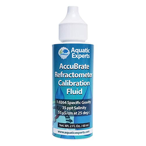 AccuBrate Refractometer Salinity Calibration Fluid – 60 ml Solution to Accurately Calibrate Refractometer for Testing Natural Saltwater or Synthetic Sea Water - Made in the USA (60 ml)