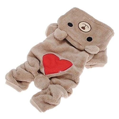 ETbotu Haustier-Zubehör – süßes Bären-Kostüm, Jumpsuit, Warmer Kapuzenpullover für Haustiere, Hunde, Herbst-Winter-Zubehör, Khaki;XS, xs