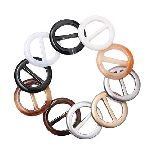 Supvox 20pcs Resin Round Fashion Scarf Buckle T Shirt Scarf Clip Ring with Random Colors