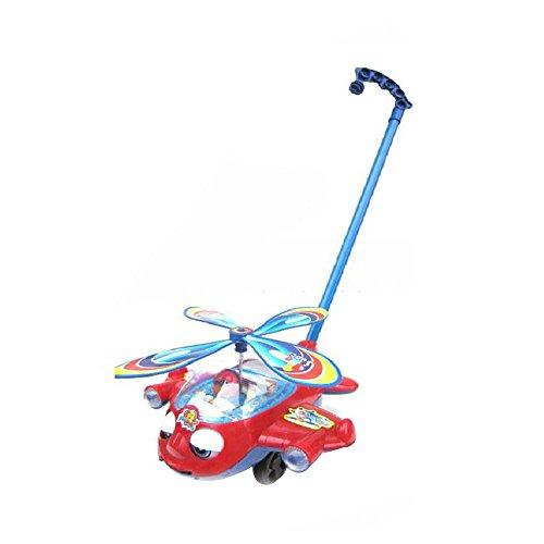 Luopei Fliegender Hubschrauber Flugzeug ABS Hand Schieben Spielzeug Geschenke Kinder Kinder Spaß mit großen Stäben Hubschrauber Schiebe-Along Walking Spielzeug für Kinder