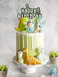 7. Aprildecember666 Dinosaur Themed 9 Piece Cake Topper Set