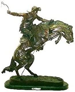 Artistic Solutions Frederic Remington Pure Bronze Bronco Buster Statue Sculpture - Medium Size