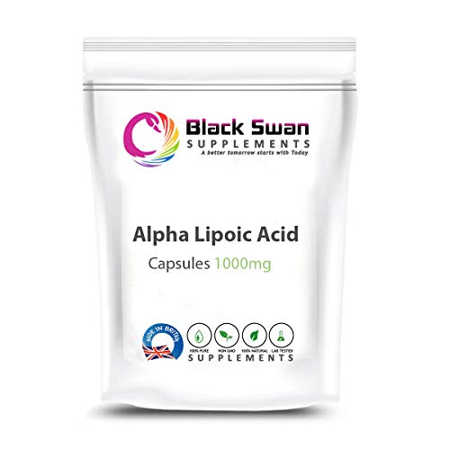 Black Swan Alpha Lipoic—Antioxidant Properties—Natural Supplement—Weight Loss—Anti-inflammatory—Healthy Blood Pressure—Healthy Cholesterol—1000 mg Vegan Capsules (30 caps)