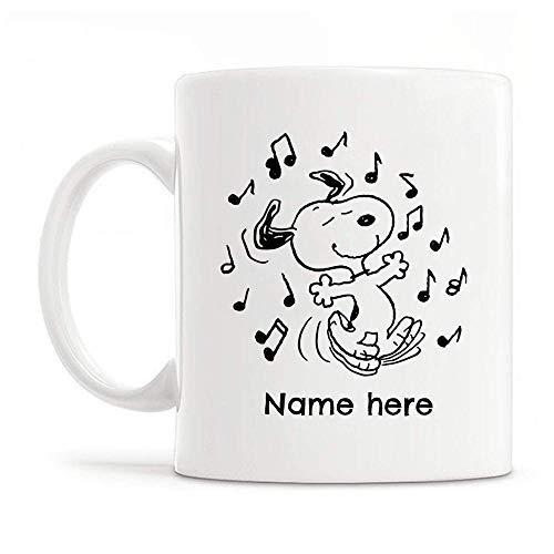 Taza té cerámica uso prolongado Perro bailando Perro Amante de la historieta Nombre del perro izable Papá que ama a los perros Padres de perros Taza bebida café Regalo