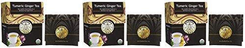 Turmeric Ginger Tea - Organic Herbs - 18 Bleach Free Tea Bags (3 Pack)