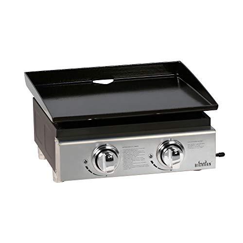 Birghorn Gasgrill Plancha BBQ Grill Tragbare Grillplatte Outdoor Garten emailliert Gusseisen 45,7 cm Backplatte 2 Brenner