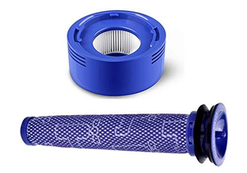 AMSAMOTION Filtersatz Ersatz Filter für Dyson V8 +, V8, V7 Absolutes Tiermotorkopf-Vakuum, 1 Vorfilter und 1 HEPA-Nachfilter, ersetzt Teile-Nr. 965661-01 und 967478-01