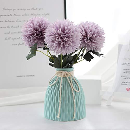 Flor del Diente Artificial con jarron de ceramica, Flor de Seda Ramo de Estilo nordico para la Oficina en casa Interior Living Comedor decoracion de Mesa,D