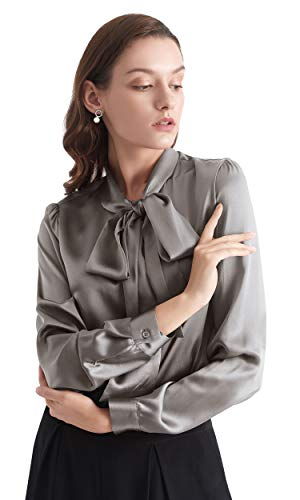LilySilk Klassisch Seidenbluse Damenmode Seidenhemd Langarmbluse Damen Schluppenbluse Langarm aus 22 Momme Verpackung MEHRWEG (XS, Grau)