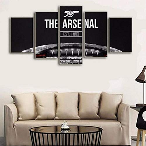 YUJEJ801 Arsenal 1886 Soccer Team 5 Piece Canvas Wall Art for Living Room Paintings Pictures HD Prints Contemporary Artwork Home Decorations Framed Stretched Ready to Hang