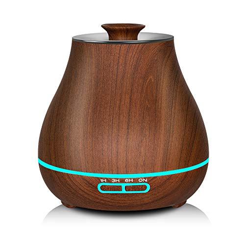 KEFEIER Aroma-Diffusor kalt nebullierend, Luftbefeuchter mit ätherischem Öl, 400 ml, automatische Abschaltung und 7 Del Nachtlicht für Schlafzimmer mit Spa Bois Brun