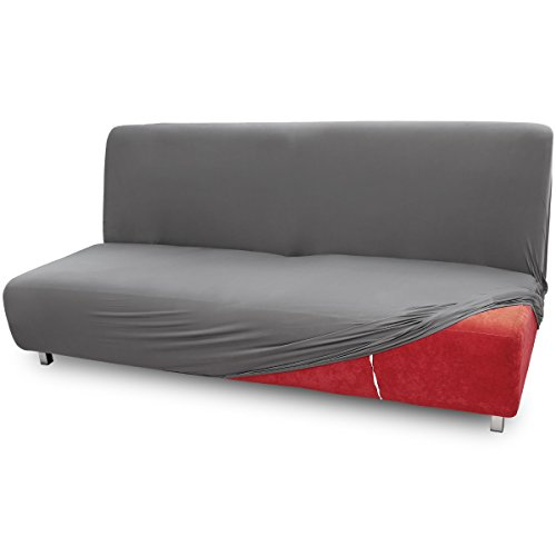 Fundas de Mueble para sofás Cama Clic-Clac Brazos de Madera Funda de Sofá Elástica Ajustable (3 plazas, Gris)