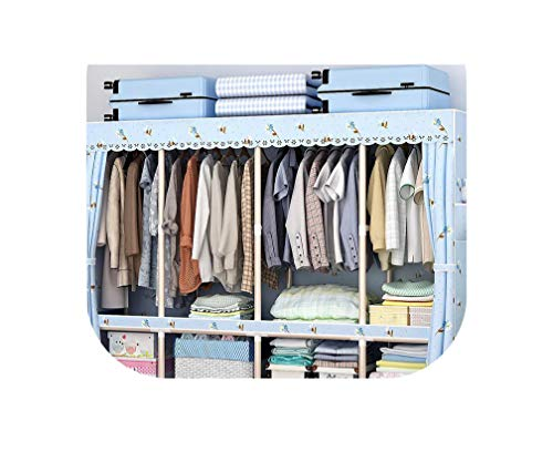 Miracle day Wardrobe Simple Cloth Wardrobe Steel Pipe Thickened Steel Frame Thick Double Storage Home Wardrobe Economy,Burgundy