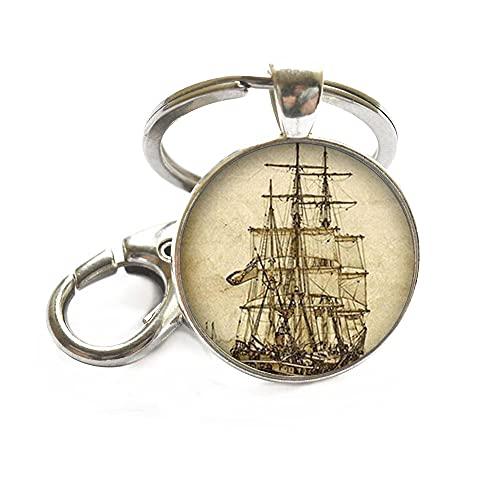 Portachiavi con barca a vela, anello portachiavi per barche nautiche, gioielli per vela oceanica, regalo per viaggiatori avventura, Wanderlust Keychain-JV268