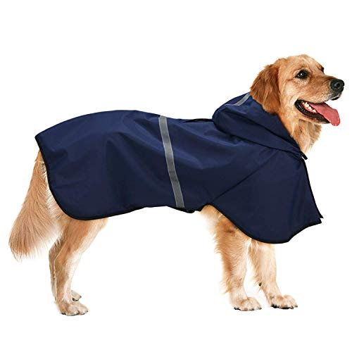 Impermeabile Cane Cappuccio con Foro per Guinzaglio Imbracatura Ultraleggero Cappotto per Cani Impermeabile Cappuccio per Cani di Taglia Piccolo Media Grande Blu Scuro 6XL