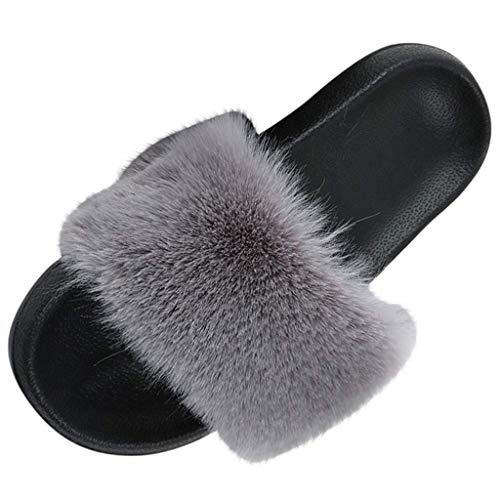 Faux Fur Sliders Flat Open Toe Sandalen Indoor Outdoor Slip On Mega Fluffy Mules Slippers Slippers voor Dames Dames Girl (C) Donkergrijs