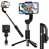 1-Axis Handheld Gimbal Stabilizer for Smartphone,Auto Balance, Reduce Shaking,Pan-tilt Tripod with Built-in Bluetooth Remote for iPhone 11/11 Pro/X/Xr/6s,Samsung S10+/S10/S9/S8,Huawei P30 Pro(Black)