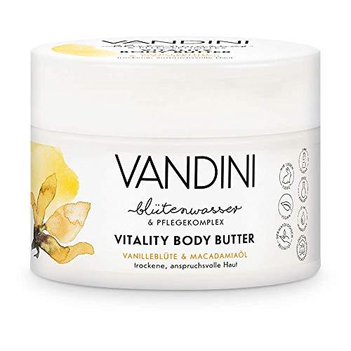 VANDINI Vitality Body Butter Damen mit Vanilleblüte & Macadamiaöl - Body Creme als Körpercreme & Gesichtscreme für trockene, anspruchsvolle Haut - vegane Feuchtigkeitscreme für Frauen (1x 200 ml)
