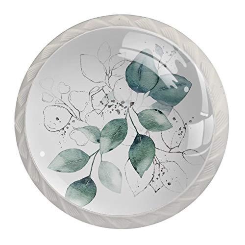 KAMEARI Okrągła gałka do szafki akwarela zielone liście bukiet ziół zestaw 4 szt