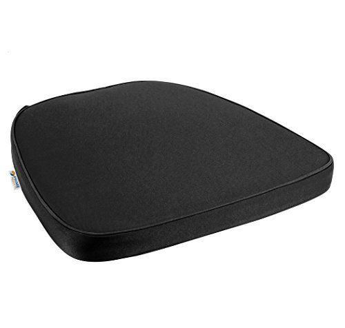 Prime Products Chair Pad | Seat Padded Cushion with a Polycore Thread Soft Fabric, Straps and Removable Zippered Cover (Black)