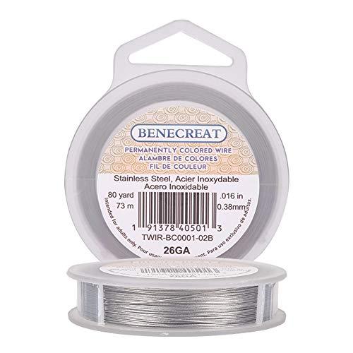 BENECREAT 73m 0.38mm Alambre de Acero Inoxidable Cable Metálico Trenzado por 7 Hilos Accesorios de Manualidad para Diseño de Bisutería
