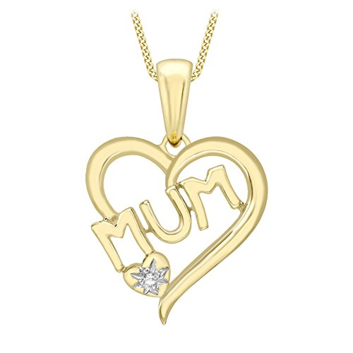 Carissima Gold 9ct Yellow Gold Diamond 'MUM' Heart Pendant on Curb Chain Necklace of 46cm/18'