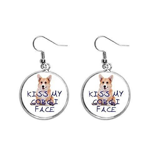 Pendientes colgantes de plata con diseño de perro de Gales de Corky
