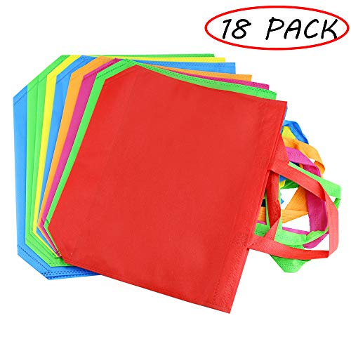Amersumer 18Pack 13' Party Gift Tote Bags,Polyester Non-Woven Material,Assorted Colorful Blank Canvas Bags,Rainbow Colors with Handles for Birthday Favors, Snacks,Delivery Bag,Rainbow Tote Bag.