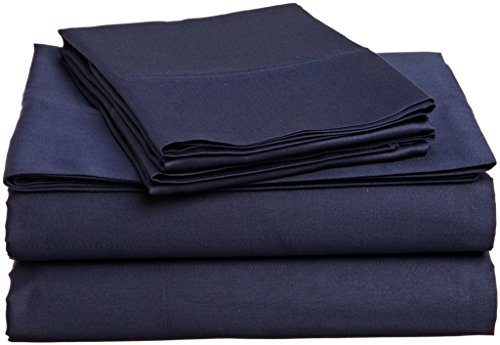 """Egyptian Cotton Only Sleep with The Best! Navy Blue Solid high-Thread Count Thread Count 4PC California King Bed Sheet Set 100%, Sateen Solid, Deep Pocket- Fits Mattresses 6-18"""" Thick."""