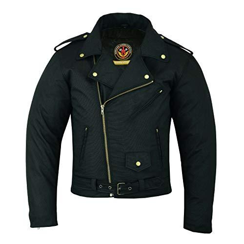 warrior gears - Chaqueta de motocicleta de algodón encerado estilo Brando clásico para hombre, forro impermeable | Chaqueta motorista blindada CE (negro, 9XL)