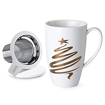 Sweese 201.231 Porcelain Tea Mug with Infuser and Lid, 15 OZ, Chrismas Tree