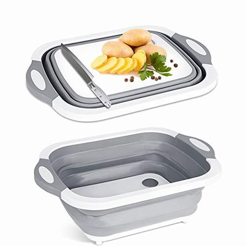 Multi-función 3 en 1 tabla de cortar plegable portátil lavado de frutas y verduras fregadero con tapón de drenaje